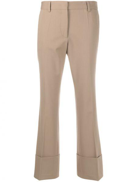 Хлопковые коричневые расклешенные брюки на молнии Alberto Biani