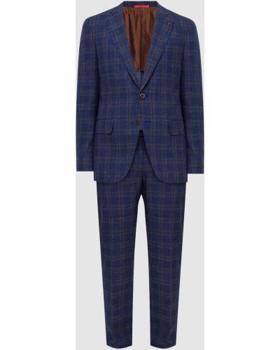 Шелковый костюм - синий Isaia