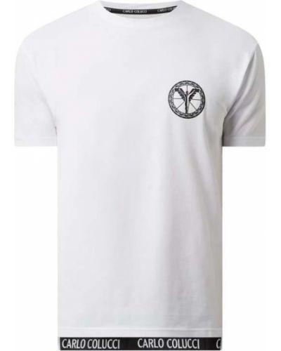 Biały t-shirt bawełniany z printem Carlo Colucci