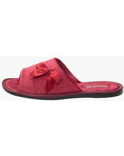 Красные текстильные домашние тапочки Белста
