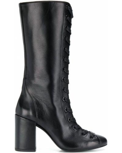 Ажурные черные сапоги без каблука круглые Maison Ernest