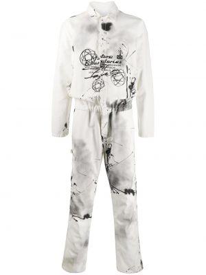 Klasyczny garnitur bawełniany z długimi rękawami Off-white