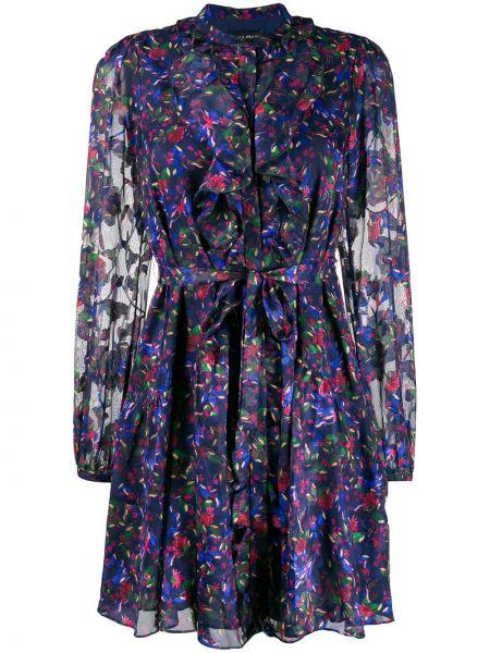 Платье с поясом на пуговицах с цветочным принтом Saloni