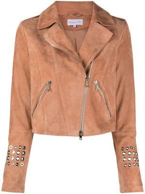 Розовая кожаная куртка на молнии Patrizia Pepe
