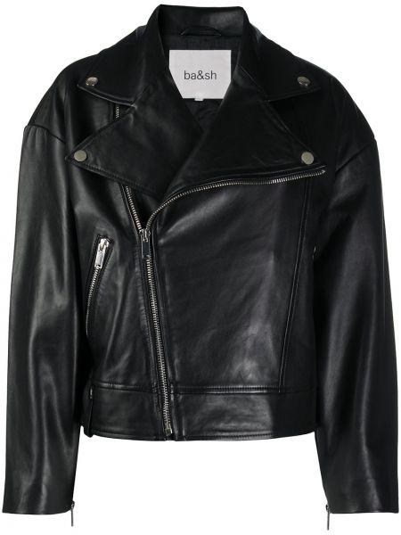 Черная длинная куртка байкерская с манжетами с воротником Ba&sh