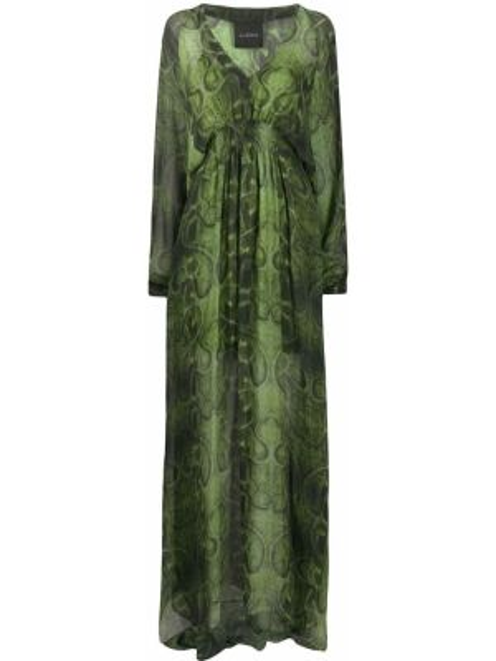 Платье макси с V-образным вырезом кожаное John Richmond