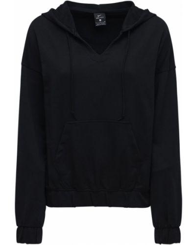 Ze sznurkiem do ściągania czarny bluza z kapturem na jogę Nike