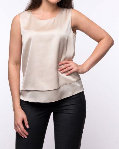 Текстильная приталенная бежевая блузка Paradox