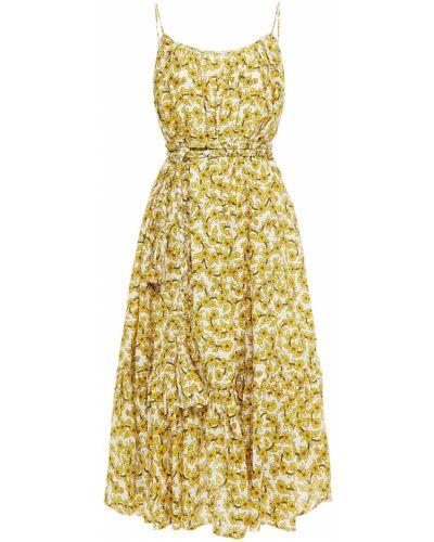 Żółta sukienka midi bawełniana z printem Rhode