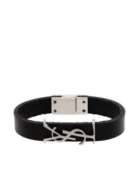 Кожаный браслет - черный Saint Laurent