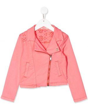 Różowa długa kurtka bawełniana z długimi rękawami Billieblush