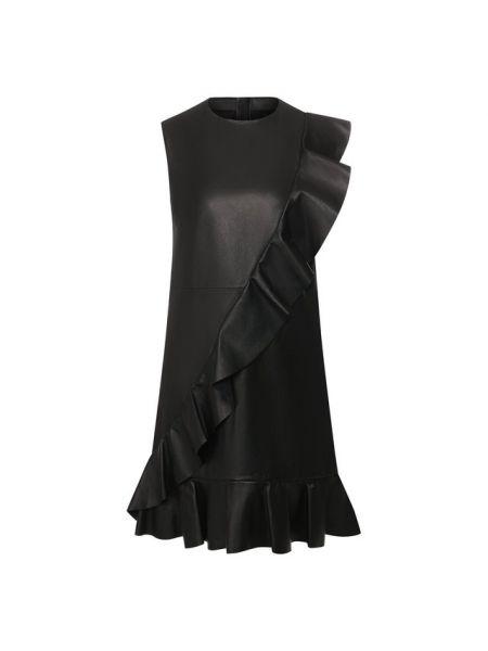 Вечернее платье кожаное черное Redvalentino