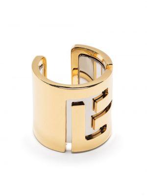 Золотистое кольцо золотое без застежки Balmain