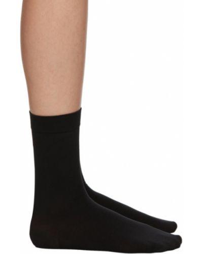Хлопковые черные носки высокие с воротником стрейч Wolford