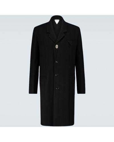 Однобортное шерстяное черное пальто Bottega Veneta