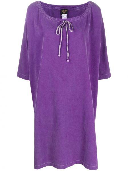 Шерстяное фиолетовое платье с вырезом круглое Jean Paul Gaultier Pre-owned