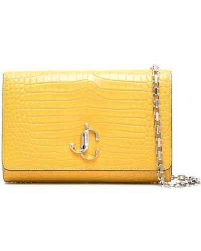 Золотистый желтый кожаный сумка на плечо Jimmy Choo