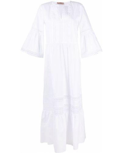 Хлопковое белое платье с вышивкой Twin-set