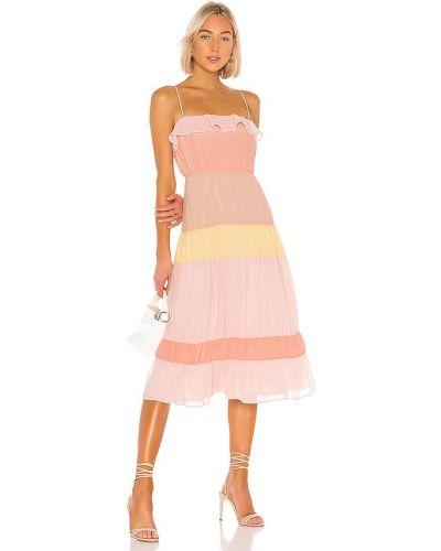Розовое платье миди с подкладкой на молнии Lovers + Friends