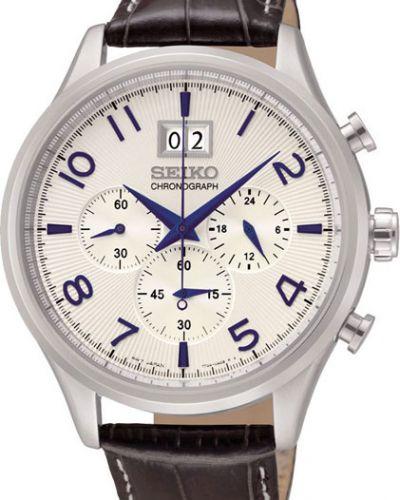 Часы водонепроницаемые с кожаным ремешком белые Seiko