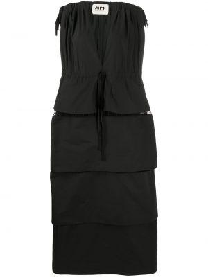 Приталенное шелковое платье макси на молнии с оборками Maison Rabih Kayrouz