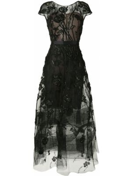 Шелковое черное платье мини прозрачное Marchesa