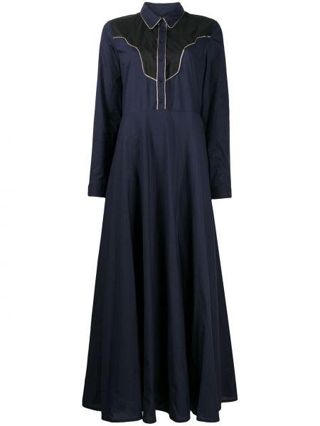 Хлопковое синее классическое платье макси с воротником Mes Demoiselles