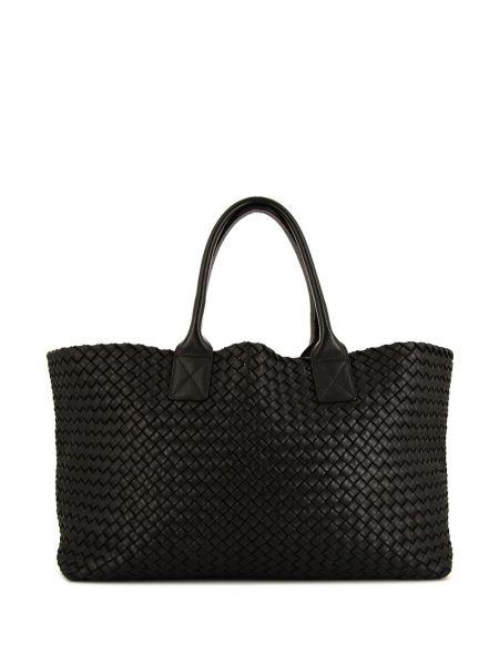 Кожаная черная сумка-тоут Bottega Veneta Pre-owned