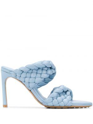Синие кожаные мюли на каблуке на бретелях Bottega Veneta
