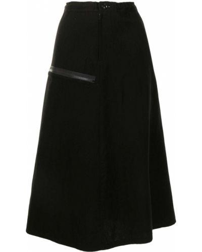 Хлопковая черная юбка миди на молнии Y`s