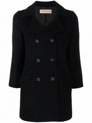 Czarny płaszcz dwurzędowy wełniany Blanca Vita