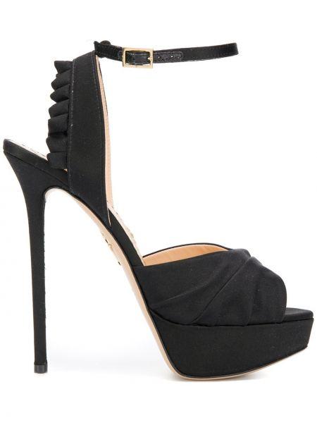 Czarne sandały na platformie skorzane Charlotte Olympia