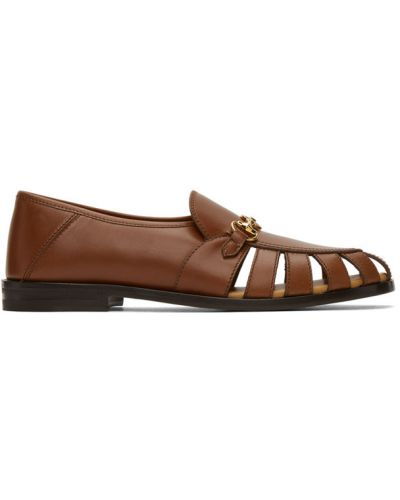 Skórzany brązowy loafers na pięcie okrągły Gucci