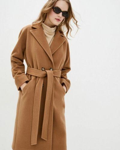 Бежевое пальто двубортное Florens