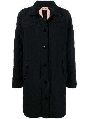 Стеганое черное пальто классическое с воротником N21