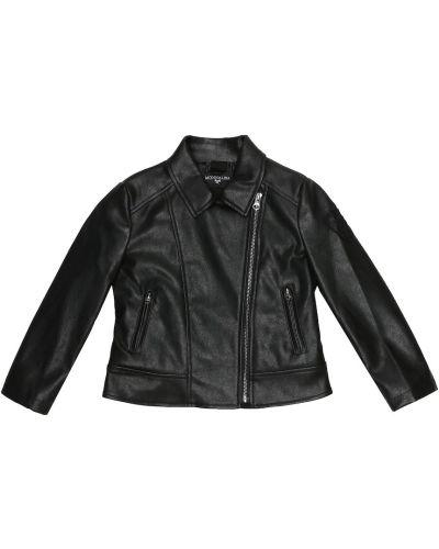 Черная кожаная куртка байкерская Monnalisa