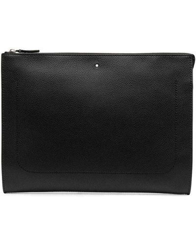 Czarny torba sprzęgło prostokątny z prawdziwej skóry Montblanc