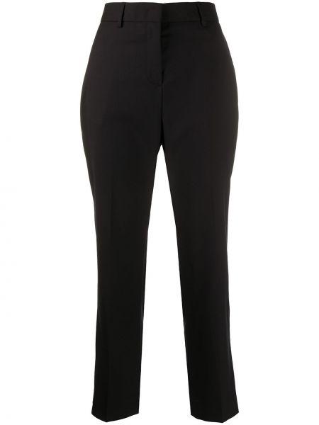 Шерстяные черные укороченные брюки с карманами с высокой посадкой Paul Smith