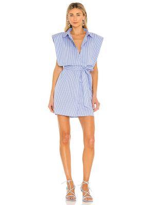 Хлопковое домашнее синее платье-рубашка Bardot