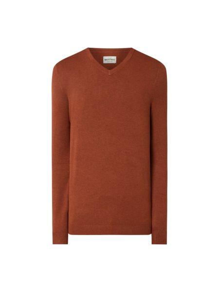 Prążkowany pomarańczowy sweter z wiskozy Montego
