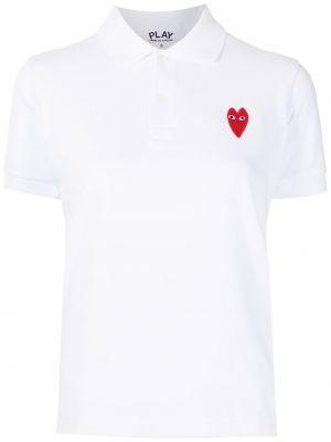 Biała koszula krótki rękaw z haftem Comme Des Garcons Play