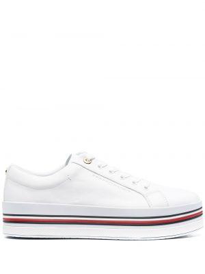 Кожаные белые кроссовки на платформе Tommy Hilfiger