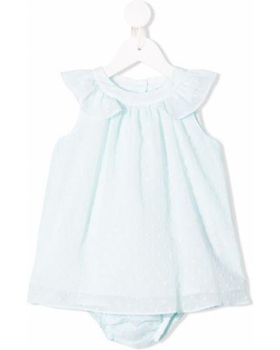 Синее расклешенное платье с вышивкой без рукавов Knot