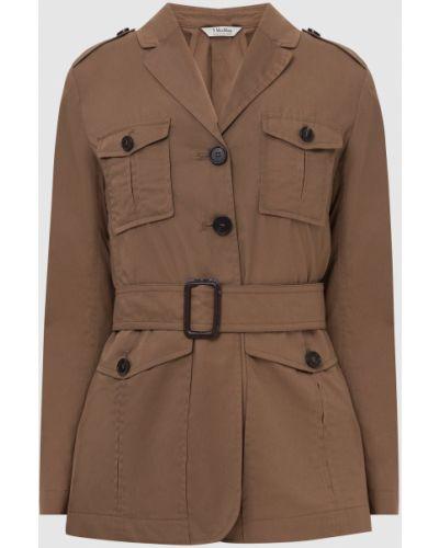 Бежевый пиджак с накладными карманами Max Mara