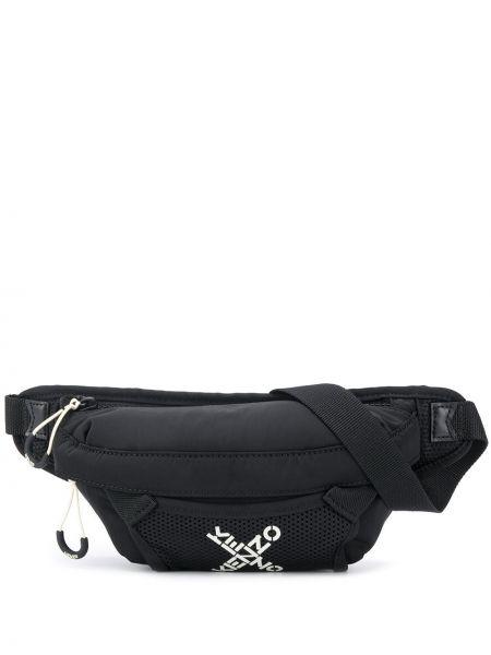 Кожаная черная поясная сумка на молнии Kenzo