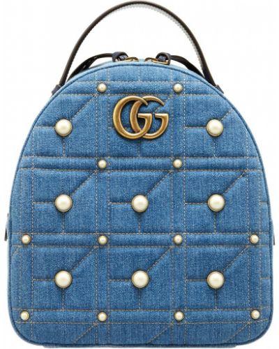 Голубая сумка стеганая Gucci