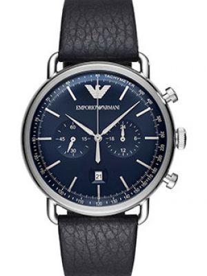 Часы с кожаным ремешком кварцевые темно-синий Emporio Armani
