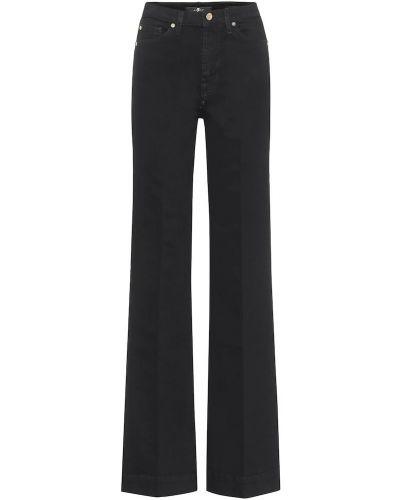 Ватные хлопковые черные расклешенные джинсы свободного кроя 7 For All Mankind
