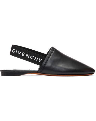 Czarny muły prążkowany z prawdziwej skóry okrągły Givenchy