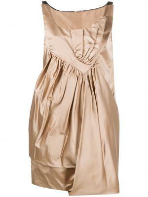 Драповое платье мини с драпировкой золотое Miu Miu Pre-owned